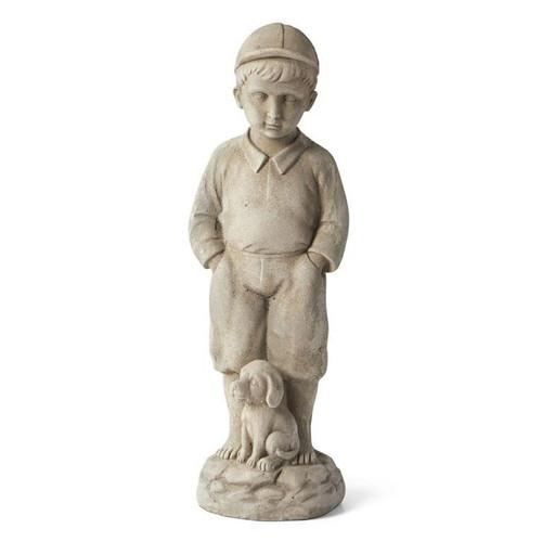 """22.5"""" Boy with Puppy Garden Statue"""