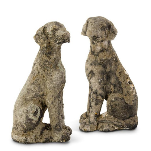"""15"""" Weathered Stone Looking Dog Statues  ~ Set of 2"""