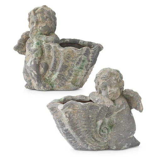 """9"""" Distressed Angels with Shell Shaped Pots ~ Set of 2"""
