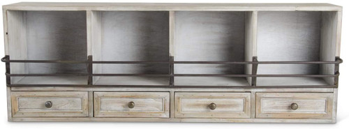 33.5 Inch Whitewash 4 Drawer Cubby Shelf with Metal Detail