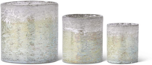 Light Green and Blue Glass Cylinder Container ~ Set of  3