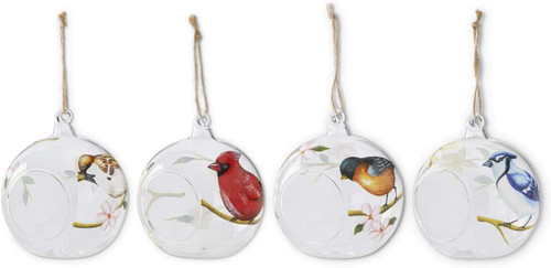 "4.75""  Assorted Bird Round Ornaments  ~ Set of 4"