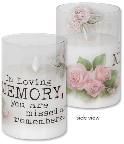 "6"" Realistic Flame LED Hurricane Candle ~ Loving Memory"