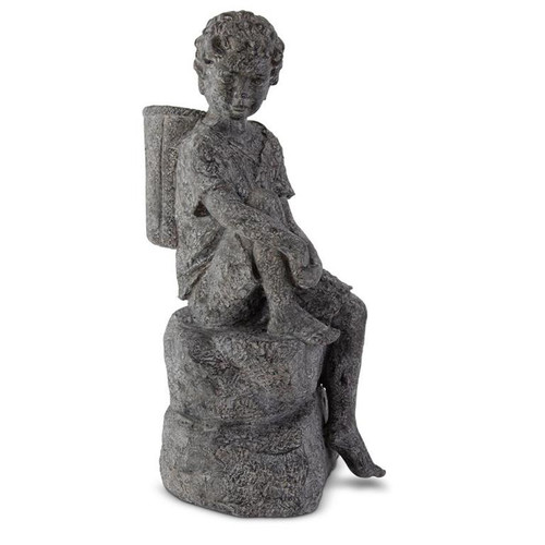 "23"" Resting Boy with Basket on Back Garden Statue"