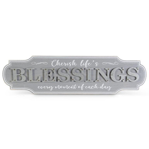 """23.5 """" Gray/White Wood with Tin """"Blessings"""" Sign"""