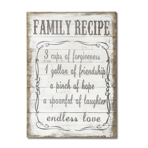 "23"" Wooden ""Family Recipe"" Wall Sign"