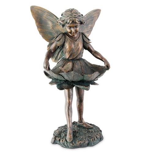 """30.5"""" Patina Green & Copper Fairy/Bird  Garden Statue"""