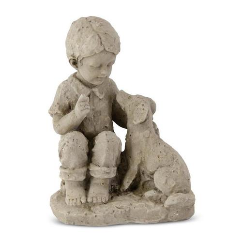 "12"" Boy with Dog Stone-Like  Garden Statue"