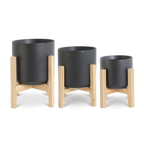 Modern Black Ceramic Pots On Bamboo Stands ~ Set of 3 Graduated Sizes