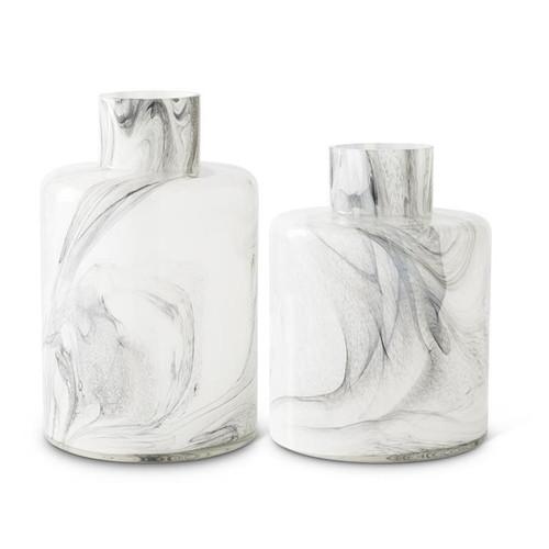 White & Smokey Black Swirl Glass Bottles ~ Set of 2 Graduated Sizes