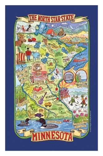 """""""Minnesota ~ Land of 10,000 Lakes!"""" Blue Towel by Kaydee Designs"""