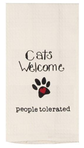 """Cat's Welcomed ... People Tolerated""  Waffle Tea Towel by Kaydee Designs"