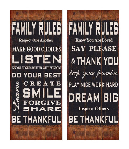 "12"" Family Rules Wooden Wall Sign - Set of 2"
