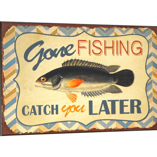 "15"" Gone Fishing- Catch You Later... Wooden Wall Sign - Home Decor"