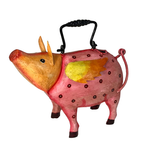 Florida the Flying Pig ~ Plant Pals Metal Watering Can