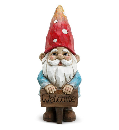 "14""Gnome with Welcome Sign by Napco"