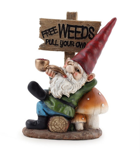 "7.5"" Gnome with Pipe and Pull Your Own Weeds Sign by Napco"