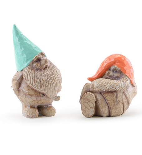 "4"" Teal  & Orange Gnomes ~ Set of 2 by Napco"