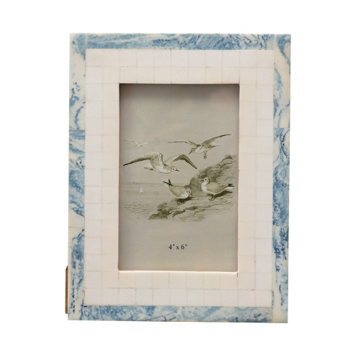"""5"""" X 7"""" Wood & Resin Photo/Picture Frame Blue and Ivory by Creative Co-op"""