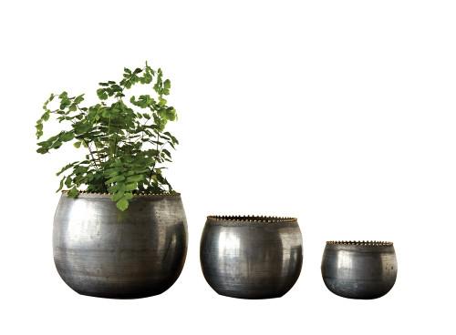 Small  Round Metal Planters, Zinc Finish, Set of 3