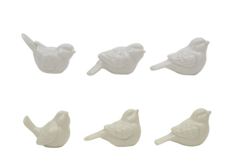 """2.5 """" Ceramic Birds, White, Boxed Set of 6 ~ By Creative Co-op"""