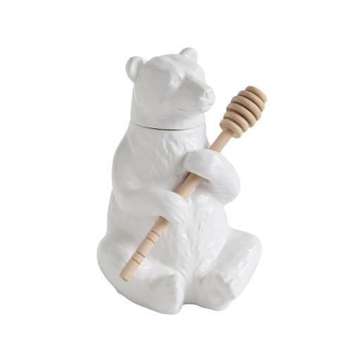 "7"" Ceramic Bear Honey Pot w/ Bamboo Honey Dipper, Set of 2~ By Creative Co-op"