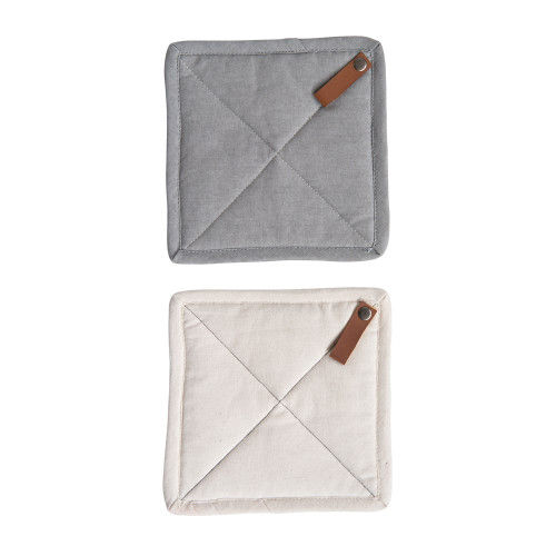 """8"""" Square CottonPot Holders With Leather Strap ~ Set of Two by Creative-Co-op"""