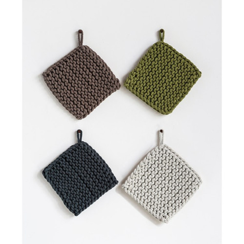 """8"""" Square Cotton Crocheted Pot Holder by Creative Co-op- Set of 4~Up North Woods"""