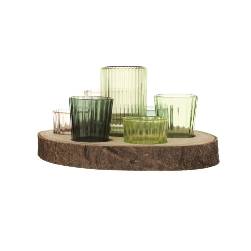 "9.5"" Paulownia Wood Tray w/ 7 Glass Votive Holders, Green, Set of 8~ by Creative Co-op"