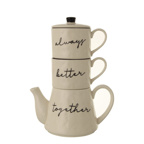 """18 oz. Stoneware Stackable Teapot & (2) 8 oz. Mugs """"Always Better Together"""", White, Set of 3~ By Creative Co-op"""