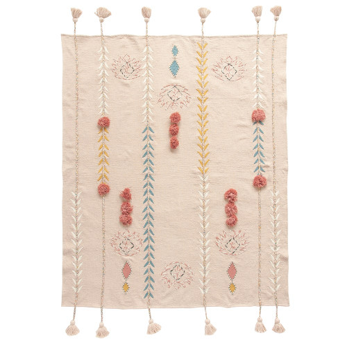 "60"" x 50"" Cotton Embroidered Throw w/ Tassels & Applique, Pink by Creative Co-op"
