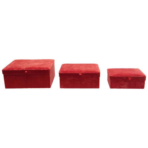 "10"", 8"", 6"" Cotton Velvet Boxes, Persimmon Color, Set of 3 by Creative Co-op"