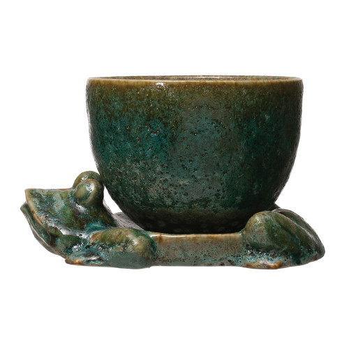 """8"""" Planter w/ Frog Base, Reactive Glaze, Green, Set of 2 By Creative Co-op"""