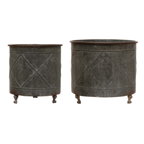 Embossed Metal Footed Planters, Distressed Grey Finish, Set of 2 By Creative Co-op