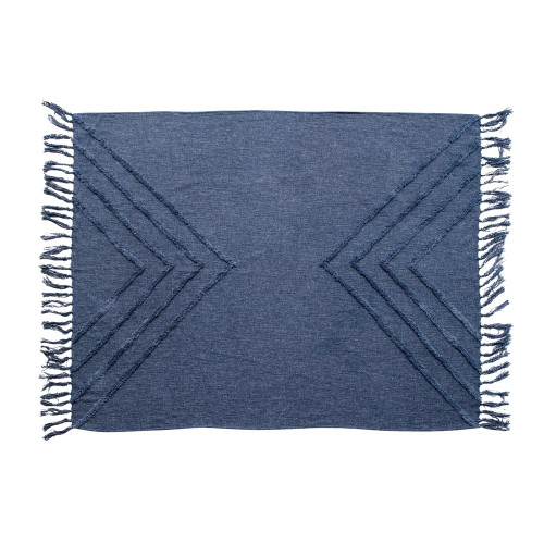 "60"" Stonewashed Cotton Blend Slub Throw w/ Tufted Chevron Pattern & Tassels, Blue"