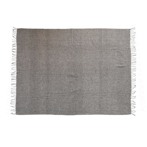 "60""L x 50""W Wool Blend Throw w/ Fringe, Grey by Creative Co-op"
