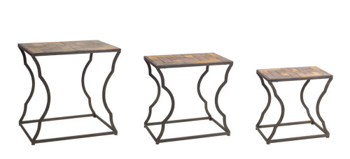 """Melrose Collection""  Industrial Wood & Iron Nesting Side Tables  Set of 3 -- DROPSHIP ONLY"