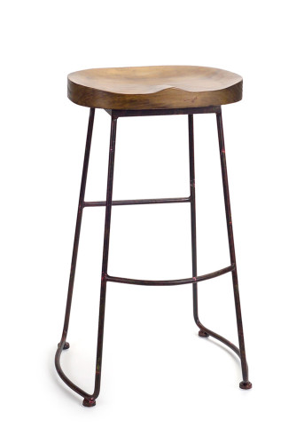 """Melrose Collection""  Industrial Wood & Iron Stool - DROPSHIP ONLY"