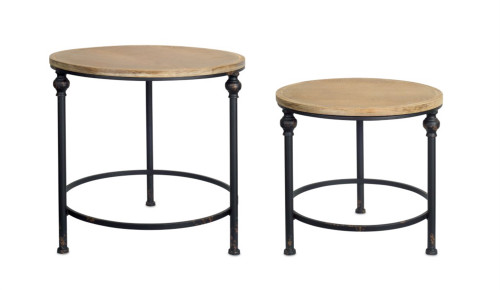 """MELROSE Collection""  Industrial Wood & Iron Side Tables - Set of  2 -DROPSHIP ONLY"