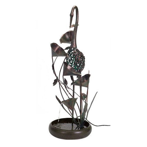 """Melrose Collection"" 53"" Bronze Crane Indoor/Outdoor Fountain- Drop Ship Only"