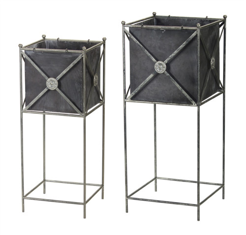 """Melrose Collection"" Metal Planter son Stand  ~ Set of 2  ~  DROPSHIP ONLY"