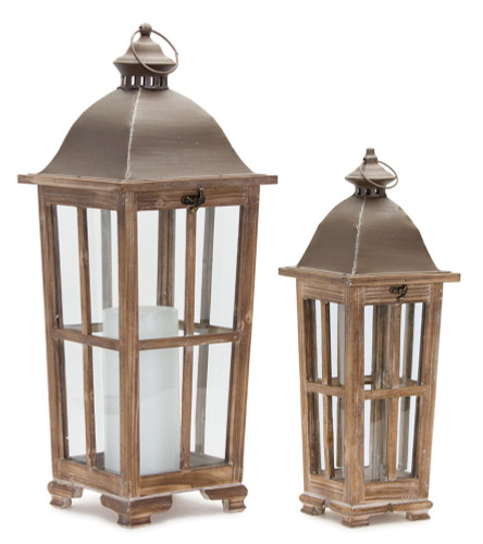 """Melrose Collection"" 36"" Cottage Wooden Deck Lanterns  Set of 2 ~ Drop Ship Only"