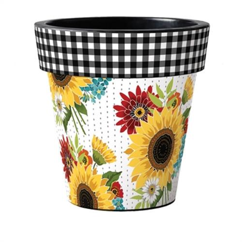 """Sunflower Checks 18"""" Art Planter  ~ Set of 2"""