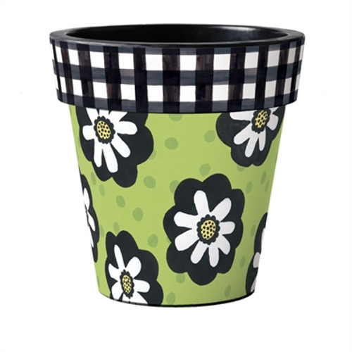 """Polka Dots and Flowers 18"""" Art Planter  ~ Set of 2"""