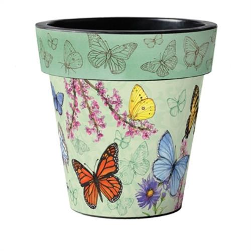 """Butterfly Dance Green 18"""" Art Planter  ~ Set of 2"""