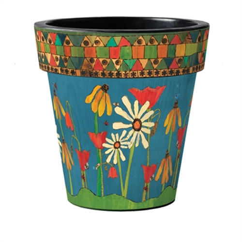 "Painted Peace Garden 18"" Art Planter  ~ Set of 2"