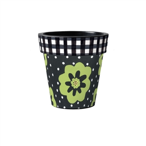 """Polka Dots and Flowers 12"""" Art Planter  ~ Set of 2"""