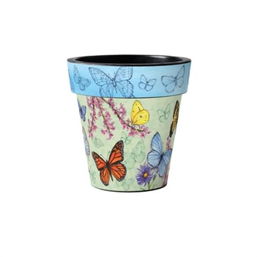 """Butterfly Dance Blue 12"""" Art Planter  ~ Set of 2"""