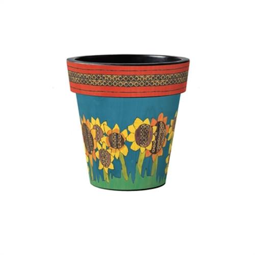"Painted Peace Sunflowers 12"" Art Planter  ~ Set of 2"