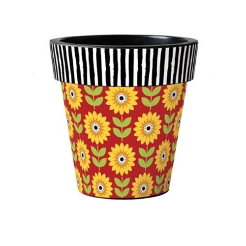 """Sunflower Checks 15"""" Art Planter  ~ Set of 2"""